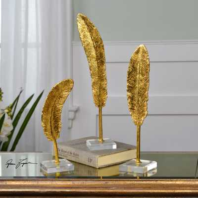 Feathers Gold Sculpture S/3 - Hudsonhill Foundry