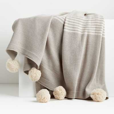 Striped Taupe Pom-Pom Throw - Crate and Barrel