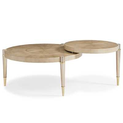 Annie Modern Classic Brown Wood Round Coffee Table - Kathy Kuo Home