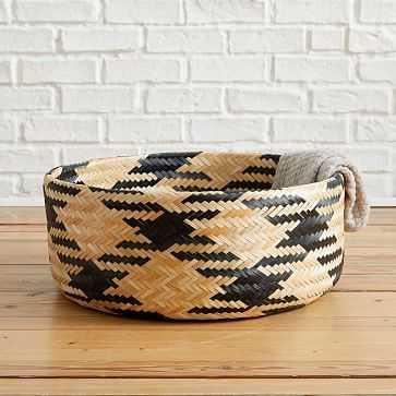 Chevron Woven Baskets, Large, Natural + Black - West Elm