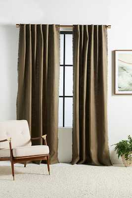"Luxe Linen Blend Curtain By Anthropologie in Green Size 108"" - Anthropologie"