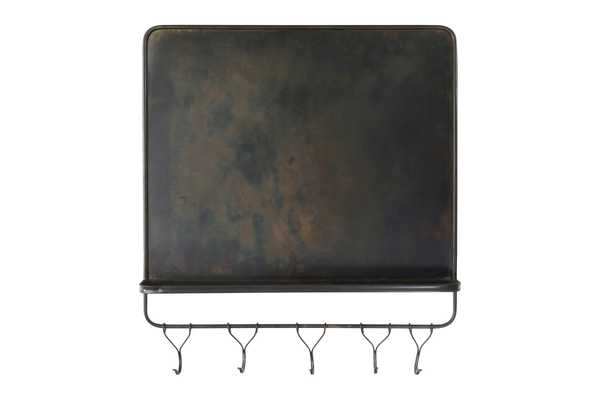 "26""H Metal Magnet Board & Wall Shelf with 5 Hooks - Nomad Home"