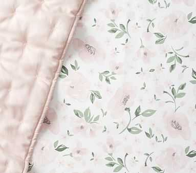 Organic Meredith Allover Floral Fitted Crib Sheet, Blush - Pottery Barn Kids