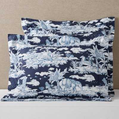 Lanta Toile Reversible Organic Bedding, King Sham, Blue - Williams Sonoma