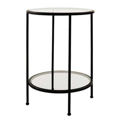 Home Decorators Collection Bella Round Antique Bronze Metal and Glass Accent Table (18 in. W x 24 in. H) - Home Depot