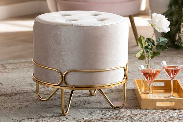 Baxton Studio Lucienne Glam and Luxe Beige Velvet Fabric Upholstered Gold Finished Metal Ottoman - Lark Interiors