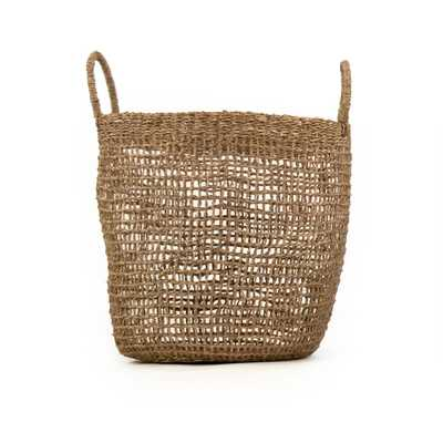 Zentique Cylindrical Sparsely Hand Woven Seagrass Large Basket with Handles, Beige - Home Depot