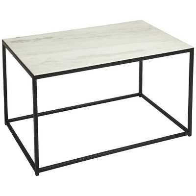 """Butler Phinney 31 1/2""""W Black Metal and Marble Coffee Table - Style # 77J84 - Lamps Plus"""