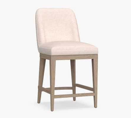 Layton Upholstered Counter Height Bar Stool, Seadrift Leg, Basketweave Slub Ivory - Pottery Barn