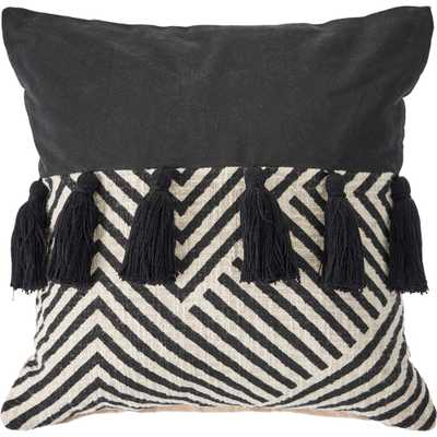 LR Home 20 in. x 20 in. Black/White Trendy Chevron Cotton Standard Throw Pillow, Black / White - Home Depot
