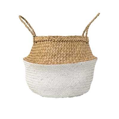 Beige & White Seagrass Folding Basket with Handles - Moss & Wilder