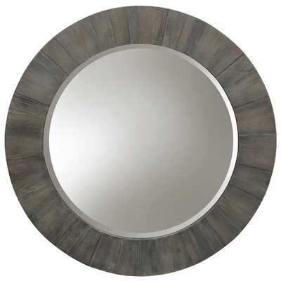 Style Craft Hand Painted Gray Wood - Weathered Natural Wood Frame Round Mirror With Clear Beveled Glass - Wayfair