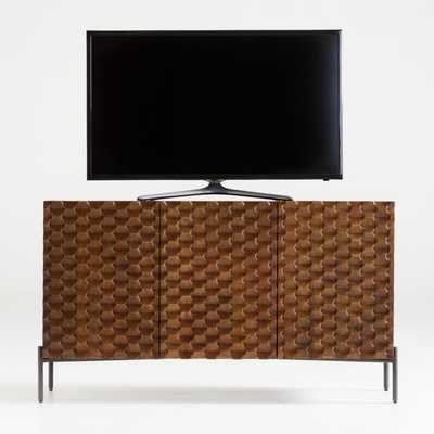 Raffael Small Carved Wood Media Console - Crate and Barrel
