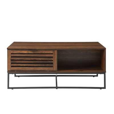 Modern Slat Door Coffee Table Dark Walnut - Saracina Home, Dark Brown - Target