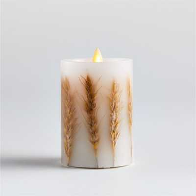 Flickering Flameless Wheat Inclusion Wax Pillar Candle 3x4 - Crate and Barrel