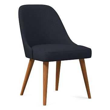 Mid-Century Upholstered Dining Chair, Basket Slub, Midnight, Pecan - West Elm