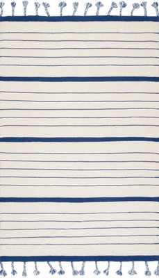 "Samson Stripe Rug, 7'6""x 9'6"", Blue - Cove Goods"