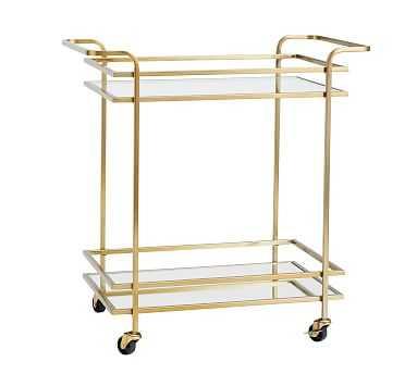 Skylar Bar Cart, Brass - Pottery Barn