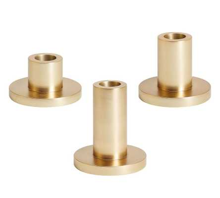 Eclectic Candlesticks, Brass, Set of 3, One Each - Small, Med, Large - Pottery Barn