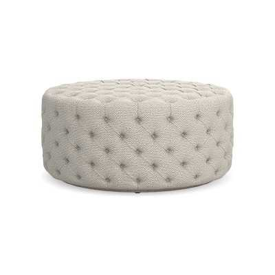 "Deep Tufted 42"" Round Ottoman, Perennials Performance Chenille Weave, Ivory - Williams Sonoma"