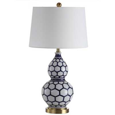 Safavieh Halona 28 in. Blue/White Table Lamp - Home Depot
