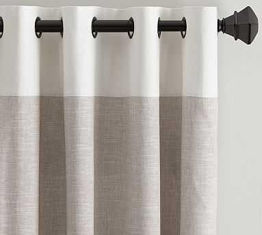 "Emery Border Linen Drape, 50 x 96"", Oatmeal/Ivory - Pottery Barn"