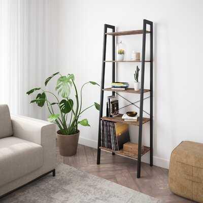 Industrial Bookshelf, 4-Tier Ladder Shelf With Metal Frame, Rustic Brown - Wayfair
