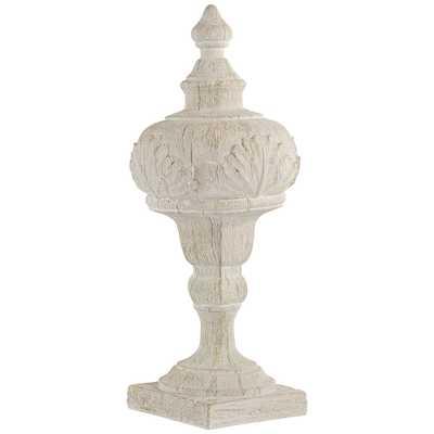 """Matte Cream 16"""" High Faux Wood Table Top Sculpture - Style # 73D54 - Lamps Plus"""