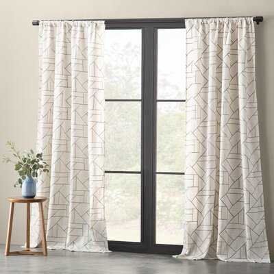 Embroidered Geometric Sheer Rod Pocket Single Curtain Panel - AllModern