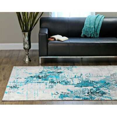 Brittni Abstract Turquoise Area Rug - Wayfair
