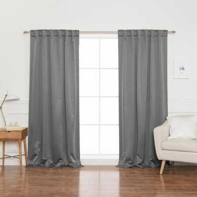 Best Home Fashion Heathered Linen Look 52 in. W x 96 in. L Grommet Blackout Curtains in Grey (2- Pack) - Home Depot