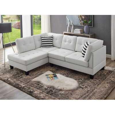 "Aaric 90"" Faux Leather Left Hand Facing Sofa & Chaise - Wayfair"