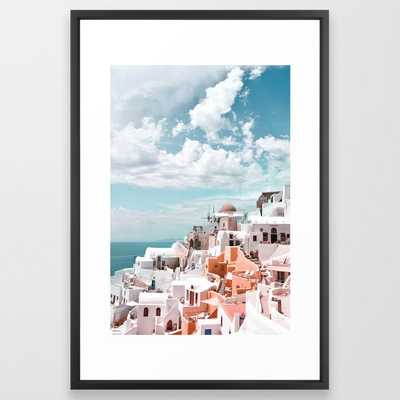 Santorini, Oia Framed Art Print by Printsproject - Vector Black - LARGE (Gallery)-26x38 - Society6