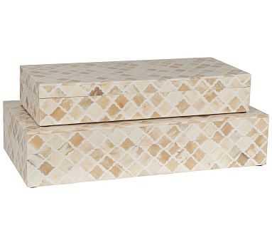 Gabriella Bone Decorative Box, Set of 2 - White - Pottery Barn