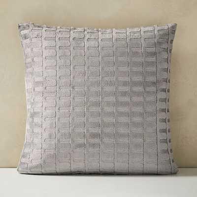 "Cut Velvet Archways Pillow Cover, Set of 2, 24""x24"", Pewter - West Elm"