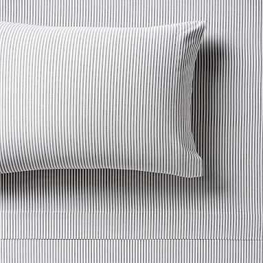 Boxter Stripe Sheet Set, Queen, White/Onyx - Pottery Barn Teen