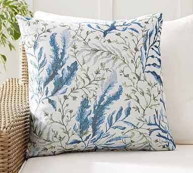 "Sunbrella(R) All Over Seaweed Indoor/Outdoor Pillow, 22 x 22"", Cool Multi - Pottery Barn"