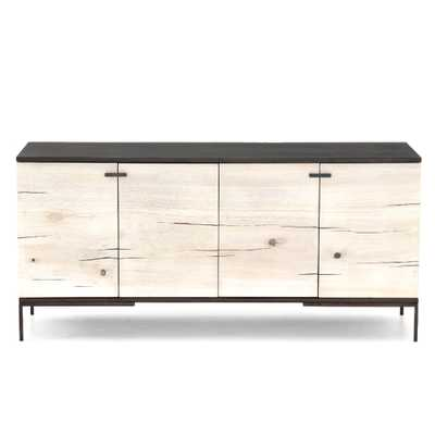 Maxine Modern Classic White Yukas Wood Black Iron Media Console - Small - Kathy Kuo Home