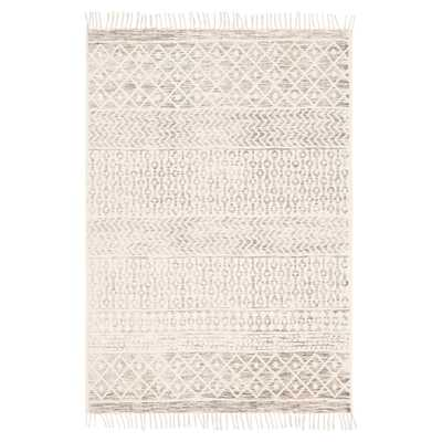 Jaylah Coastal Beach Beige Cotton Patterned Rug - 8' x 10' - Kathy Kuo Home