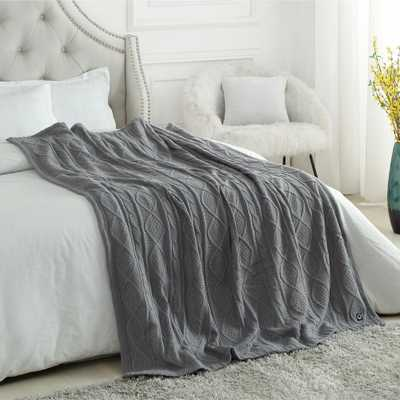 "INSPIRED HOME DECOR Gaston Light Grey Throw Reverse Faux Rabbit Fur Front: 100% Acrylic, Back: 100% Polyester 50""x60"" - Home Depot"