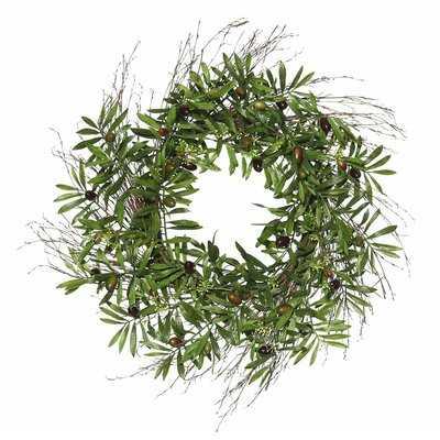 "Artificial 24"" Olive Leaf Polyester Wreath - Birch Lane"