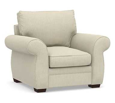 Pearce Roll Arm Upholstered Armchair, Down Blend Wrapped Cushions, Chenille Basketweave Oatmeal - Pottery Barn