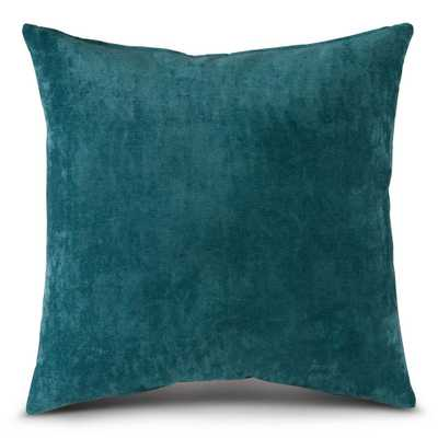 Greendale Home Fashions Solid Aqua Velvet 20 in. x 20 in. Square Throw Pillow, Blue - Home Depot