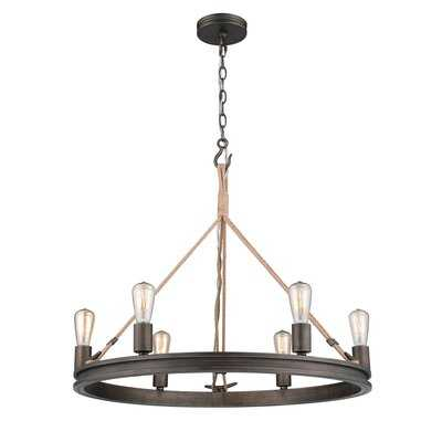 Vandervoort 6 - Light Candle Style Wagon Wheel Chandelier with Rope Accents - Birch Lane