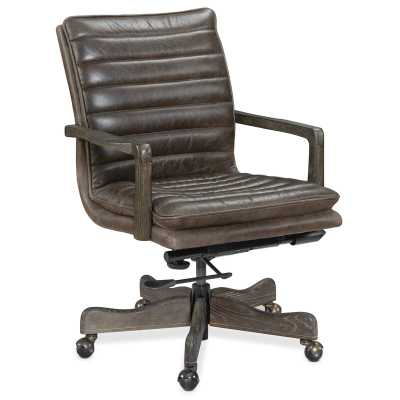 Langston Genuine Leather Conference Chair Upholstery Color: Black - Perigold