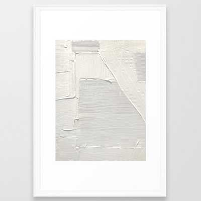 Relief [2]: An Abstract, Textured Piece In White By Alyssa Hamilton Art Framed Art Print by Alyssa Hamilton Art - Scoop White - LARGE (Gallery)-26x38 - Society6
