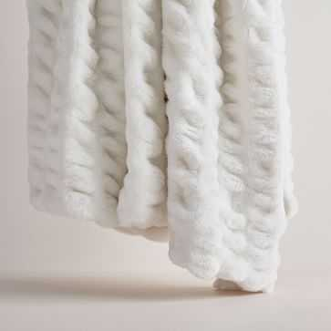 "Faux Fur Cascade Throw, 47""x60"", Stone White - West Elm"