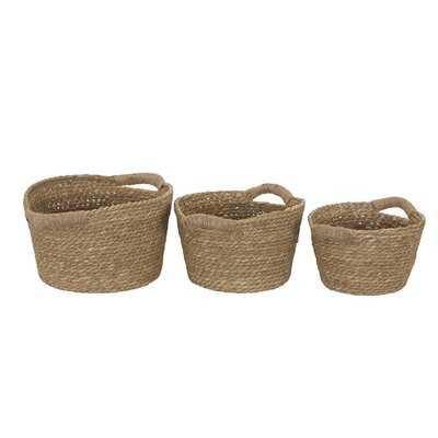 3 Piece Cattail Wicker Storage Basket Set - Wayfair