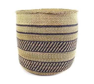 Iringa Woven Basket, Black Stripe - Large - Pottery Barn