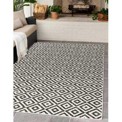 Geometric Charcoal Indoor / Outdoor Area Rug - Wayfair